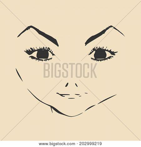 Little Girl Profile Silhouette. Vector Illustration. Cute Adolescent Girl Portrait. Short Hair. Front View