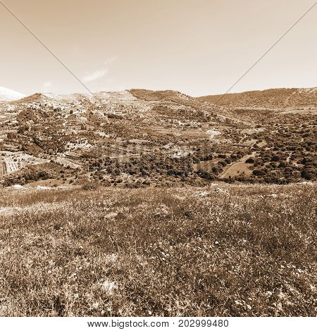 View of the Druze Town on the Golan Heights Vintage Style Sepia