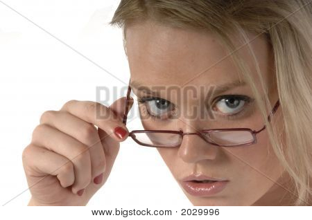 Girl Looking Over Glasses