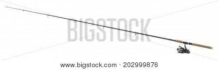 picture of a isolated fishing pole in white back