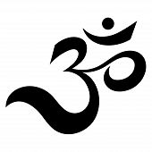 Om or Aum Indian sacred sound. The symbol of the divine triad of Brahma, Vishnu and Shiva. The sign of the ancient mantra. poster