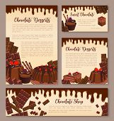 Chocolate desserts posters or banners templates for bakery or confectionery shop. Vector set of chocolate cakes, choco pies or muffins and cupcakes, tiramisu or brownie tortes chocolate cocoa sweets poster