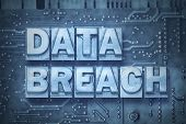 data breach made from metallic letterpress blocks on the pc board background poster