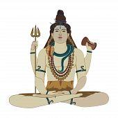 Vector illustration of Hindu God Shiva Deity of Hinduism in lotus position. Flat style design. poster