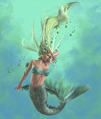Green Mermaid 3d illustration - A mermaid is a mythical legendary creature composed of a beautiful woman with a fish tail. poster