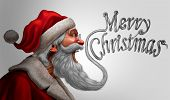 Santa claus merry christmas greetings card promotion as a saint nick beard shaped as a happy seasonalk winter message of joy with 3D illustration elements. poster