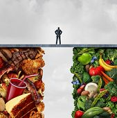 Food diet concept and nutrition decision idea or eating health choices dilemma between healthy good fresh fruit and vegetables or greasy cholesterol rich fast food with a man on a bridge trying to decide what to eat with 3D illustration elements. poster