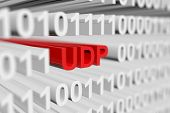 UDP in a binary code with blurred background 3D illustration poster