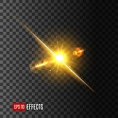 Sun or star light flash icon on transparent background. Vector isolated light beam or shining ray with lens flare or gleaming bokeh glare effect of sparkling or glittering light of twinkle star poster