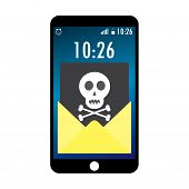 Cell phone and envelope with black document and skull icon. Virus malware email fraud e-mail spam phishing scam or hacker attack concept.Cartoon vector illustration poster