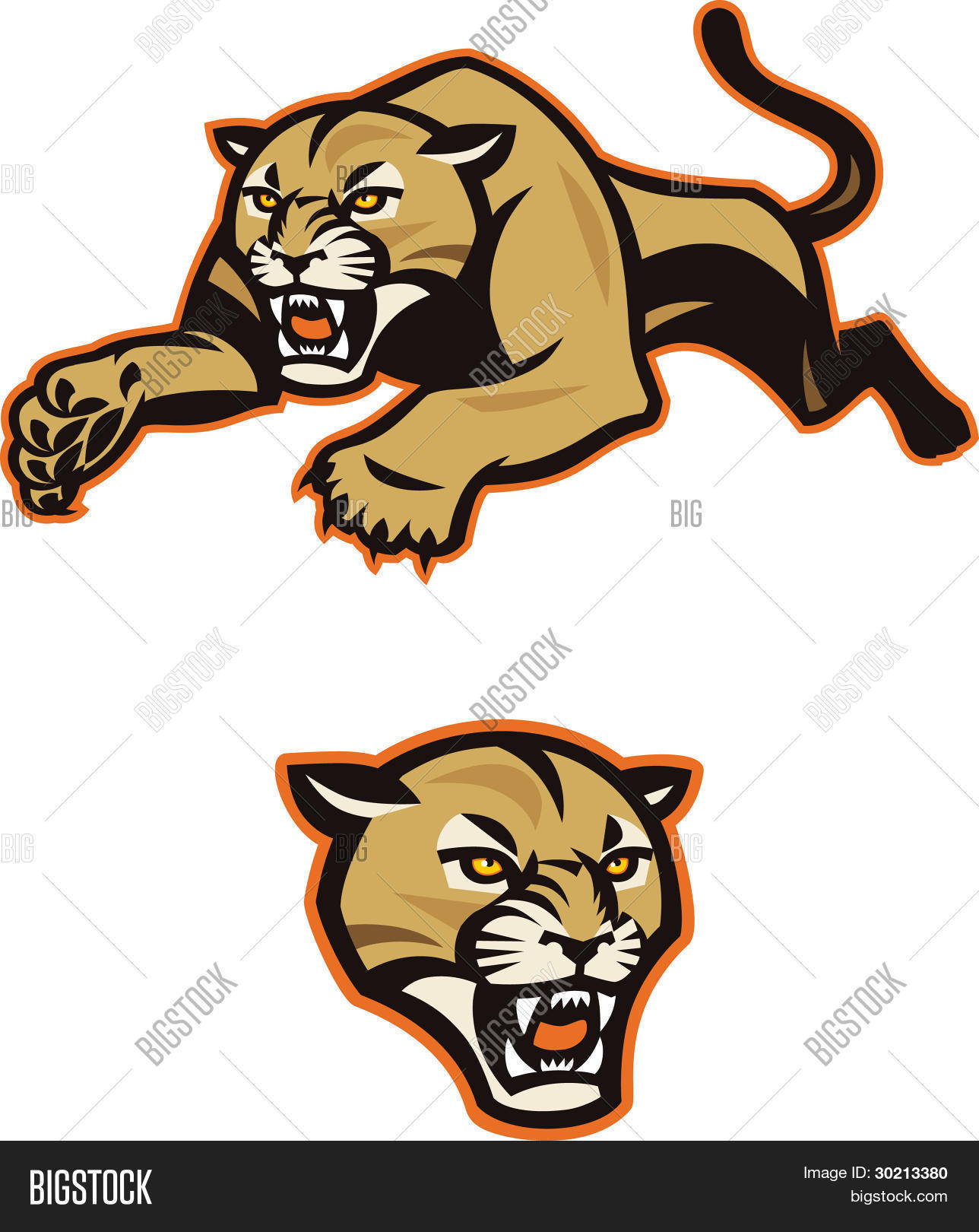 Leaping Cougar Vector & Photo | Bigstock