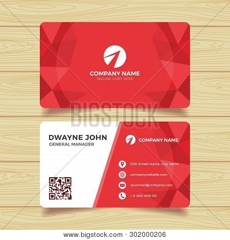 Red Geometric Business Card Template. Multipurpose Business Card For Any Types Of Agency, Corporate,