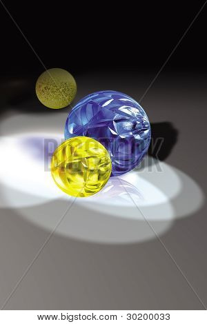 colorful glass balls