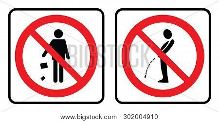 Don`t Throw Garbage Icon And No Pee Outside Icon. No Garbage Sign And No Pee Outside Icon Drawing By