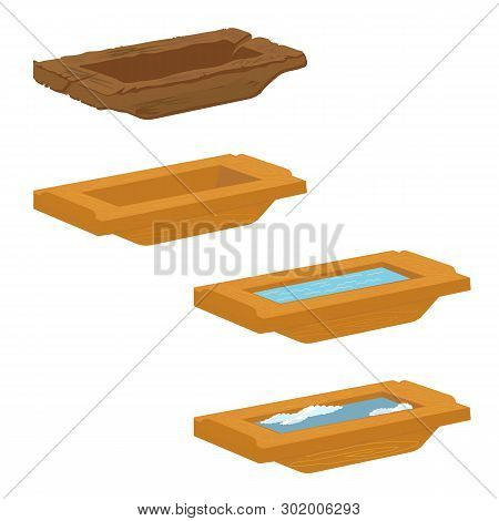 Trough On A White Background. Collection. Vector Illustration.
