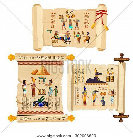 Ancient Egypt Papyrus Scroll Cartoon Vector Collection With Hieroglyphs And Egyptian Culture Religio