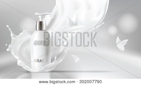 Milk Cosmetics Realistic Vector Blurred Background. Skin Care Cosmetic Product, Body Lotion In White