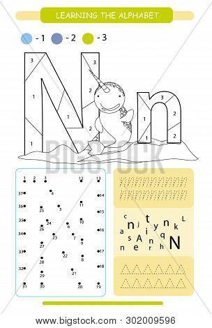 Letter N And Funny Cartoon Octopus. Animals Alphabet A-z. Coloring Page. Printable Worksheet. Handwr