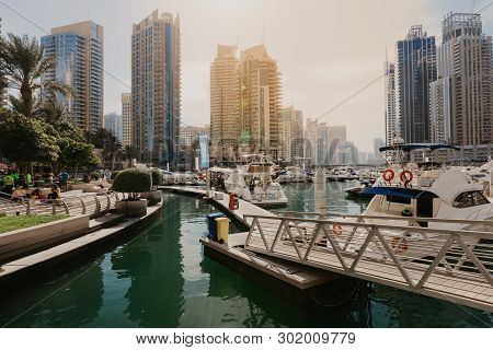 January 02, 2019 . Panoramic View With Modern Skyscrapers And Water Pier Of Dubai Marina , United Ar