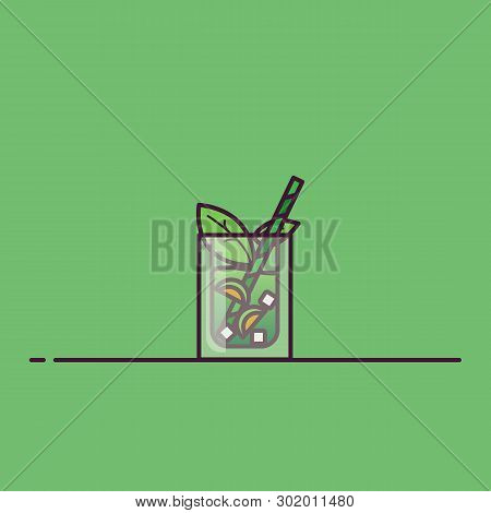 Iced Tea Line Style Vector. Transparent Glass With Iced Tea Or Lemonade, Ice Cubes And Lime Leaves.