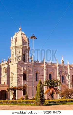 Lisbon, Portugal Landmark Jeronimos Monastery Or Hieronymites Monastery Sunset View