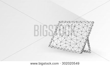 Graphic Tablet, Laptop, Notebook Composed Of Polygons. Devices, Touchpad Concept. Abstract, Digital,