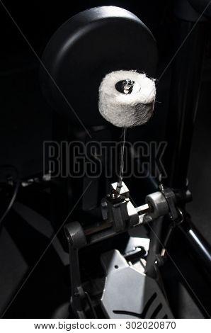 Close-up Photo Of Electronic Kick Drum On Black Background.