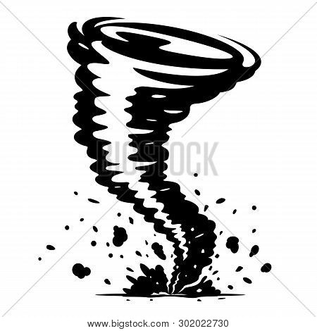 One Big Cartoon Tornado With Spiral Twists, Dust And Stones, Illustration Of Dangerous Natural Pheno