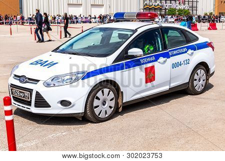 """Samara, Russia - May 18, 2019: Patrol Vehicle With Inscription """"military Traffic Police"""" On The City"""