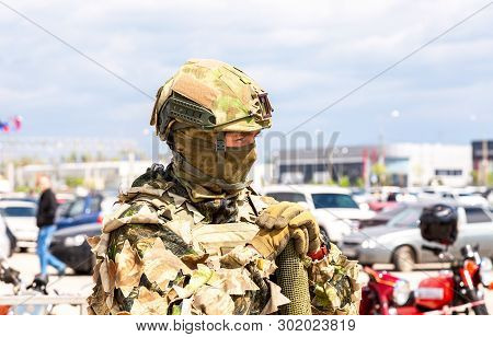 Samara, Russia - May 18, 2019: Unidentified Russian Soldier In Camouflage Army Uniform With Sniper R