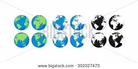 Big Collection Earth Globes. Black And Color Globes. Globe And Earth Icon Set. World Map. Planet. Ve