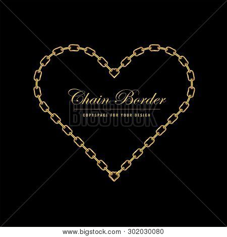 Golden Chain Square Border Frame. Heart Shape Border With Golden Color. Jewelry Design. Vector Illus