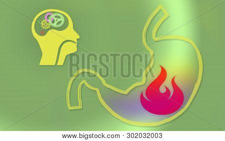 Healthy Concept. Illustration. Heartburn. Stomach  Burning. Stomach Problem