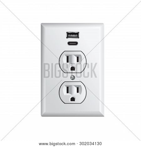 Electrical Outlet In The Usa, Power Socket With Usb And Usb Type C