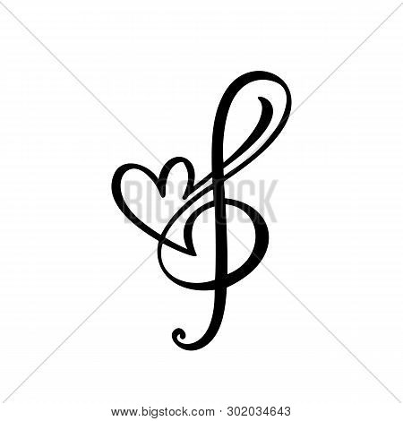 Music Key And Heart Abstract Hand Drawn Vector Logo And Icon. Musical Theme Flat Design Template. Is