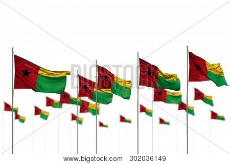 Cute Guinea-bissau Isolated Flags Placed In Row With Selective Focus And Place For Your Content - An