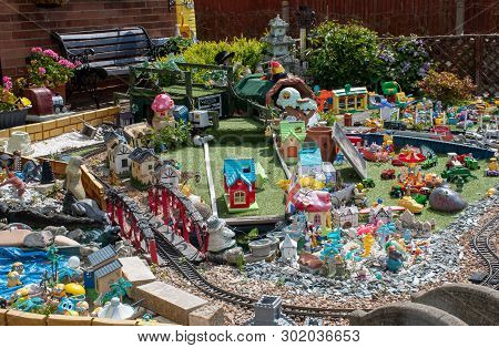 Clacton  Essex United Kingdom  -10 May 2019: Detail Of Model Garden In Front Of Persons House