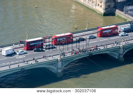 London  United Kingdom  -13 May 2019: Westminster Bridge From Above With London Buses