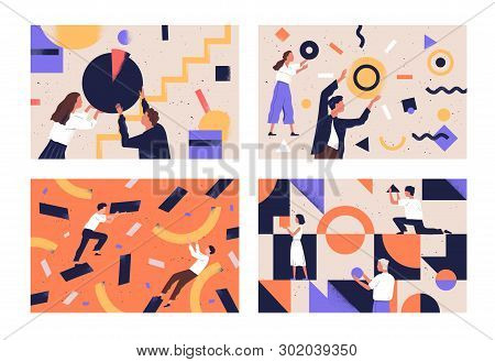 Collection Of People Organizing Abstract Geometric Shapes Scattered Around Them. Bundle Of Young Men