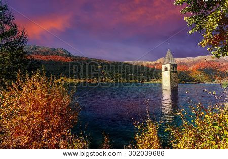 Majestic Sunset With Colorful Overcast Sky, Awesome Natural Background. Alpine Landscape. Touristic