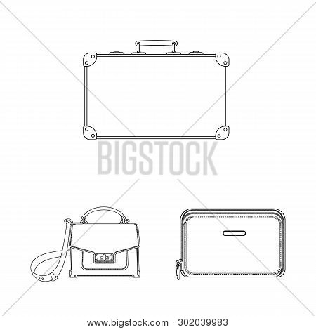 Vector Illustration Of Suitcase And Baggage Sign. Collection Of Suitcase And Journey Vector Icon For