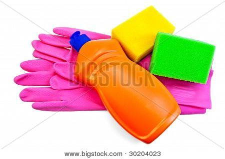 Bottle With The Orange Rubber Gloves And Two Sponges