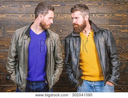 Brutality Confidence And Masculinity Interconnection. True Man Temper. Men Brutal Bearded Hipster. E