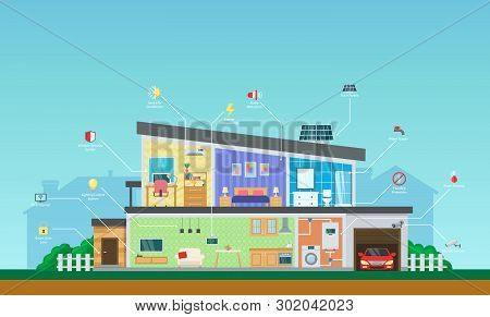 Visual Infographics Smart Modern Smart Home System Control.