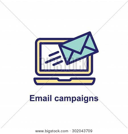 Email Marketing Campaigns Icon W Flying Envelope Showing Being Sent