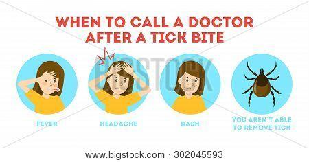 Tips For Tick Safety Infographic. Brown Parasite, Risk Of Encephalitis
