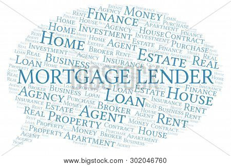 Mortgage Lender Word Cloud. Wordcloud Made With Text Only.