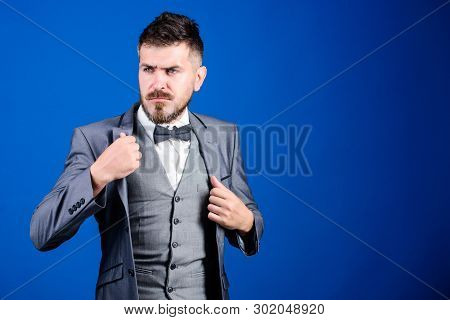 real gentleman. businessman with beard in bow tie. bearded man in formal suit. mature illusionist. Bride groom ready for wedding. esthete. stylish art director. business in modern life. copy space poster