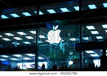 Hong Kong, China - May, 2019: Apple Store In Causeway Bay Area. Apple Inc. Is An American Multinatio