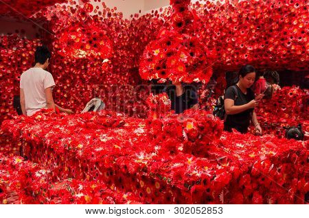 Melbourne, Australia - March 17, 2018: Flower Obsession Art Installation By Japanese Artist Yayoi Ku